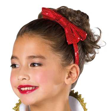 SEQUIN BOW HEADBAND / RED