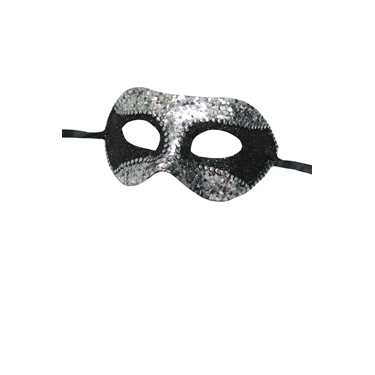 SEQUIN MASK BLK/SILVER