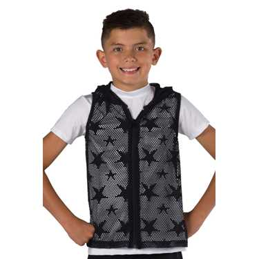 HOODED VEST / BLACK MESH STARS